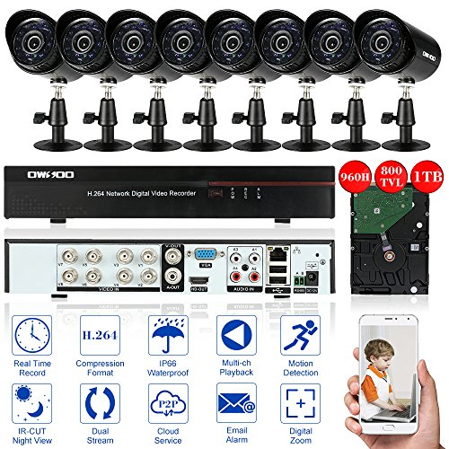 OWSOO CCTV Camera System 8CH TVI DVR with 8X HD Outdoor Home Security Video Surveillance Bullet Camera System 1TB Hard Drive 24pcs IR leds, Full 960H/D1 800TVL DVR Security Camera Systems& 1TB HDD; CCTV Surveillance DVR Security System+ 1TB Hard Disk + 8* In/Outdoor Day/Night Bullet Cameras+ 8*60ft Cable