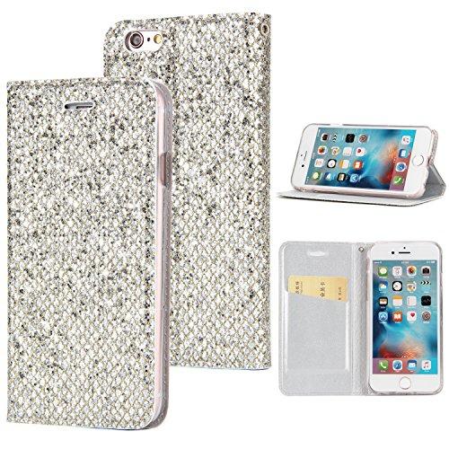 Preisvergleich Produktbild Sycode Elegant Edel Stilvoll Luxus Silber Glitzer PU-Leder Buchstil Wallet Brieftasche Schutzhülle Etui für iPhone 5S / SE / 5-Silber