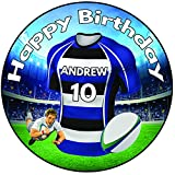 """Personalised Rugby Shirt Birthday Cake Topper 8"""" (20cm) Icing Round Decoration - Bath Colours"""