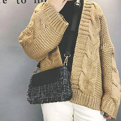 Pacchetto LiZhen femmina coreano nuovo piccolo Heung-vento bordi ruvidi bordatura di piccole confezioni di partito elegante e versatile di una spalla borsa Messenger, bianco Nero