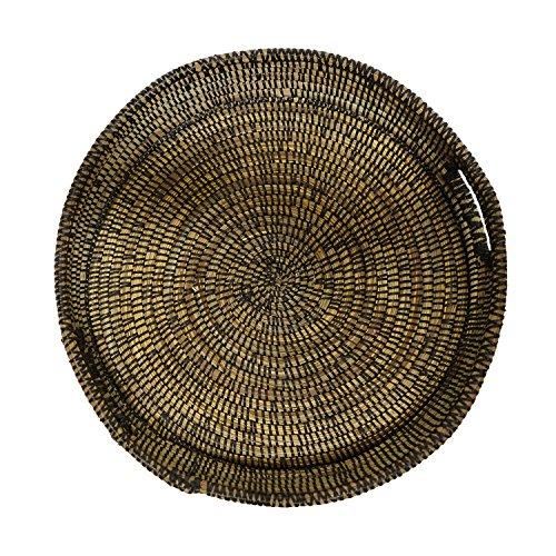 EA Déco Naturel & Design ABFNOI Plateau Tchèkè, Plastique, Noir, 40 x 40 x 7 cm