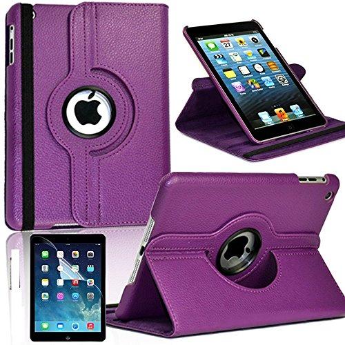 Schutz PU-Leder 360Drehbare Hülle Ständer Cover für Apple iPad Pro 9,7(dunkel lila)