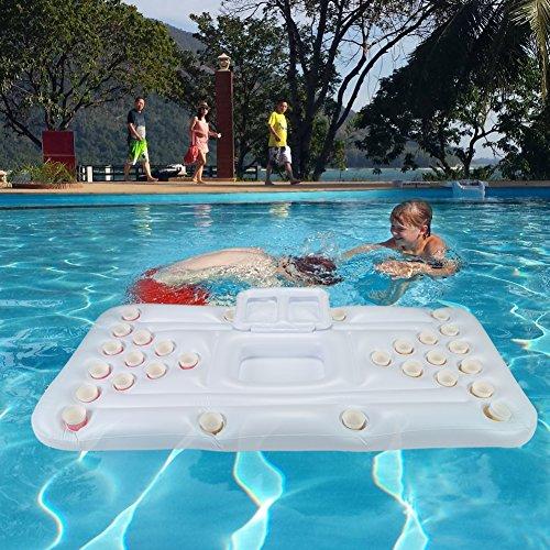 GOTOTOP Aufblasbare Matratze Pool Strand Schwimmende Weiße Boje Bier Tisch Spiel Ping Pong für Pool 180x80x15 cm (Aufblasbare Matratze) (Ping-pong-tisch Bier)