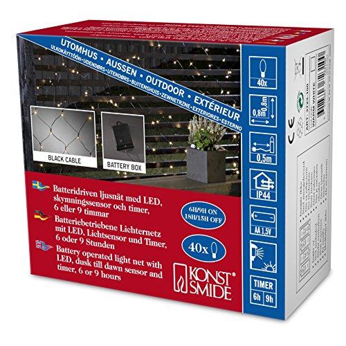 Konstsmide 3723-100 LED Lichternetz/für Außen (IP44) / Batteriebetrieben: 4xAA 1.5V (exkl.) / 40 warm weiße Dioden/mit Lichtsensor und 6h und 9h Timer/schwarzes Kabel