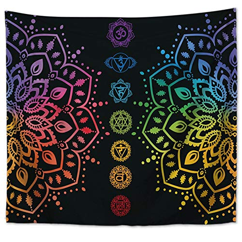 Tapiz multicolor para la pared de yoga, chakras, calavera, mandala indio, loto de la pared, tapiz, flores, geometría, manta de pared boho, hippie o playa, decoración de pared 79 * 59in Wandlovers