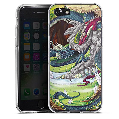 Apple iPhone X Silikon Hülle Case Schutzhülle Drachen Fantasie Bäume Silikon Case transparent