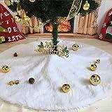 Deggodech Plüsch Weihnachtsbaum Röcke Weihnachtsschmuck Kunstfell Weiß Weihnachten Baum Rock Urlaub Baum Ornamente Dekoration für Weihnachten (90cm)