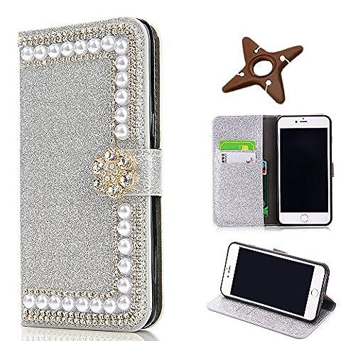 iPhone 6sPlus Portefeuille Leather Étui, MAOOY Luxe Flash Boucle de Diamant Et des Perles Design Couvrir pour iPhone 6Plus, Coquille à Béquille Rabattable Fermeture et Porte-cartes Protection Intégrale pour iPhone 6Plus/6sPlus, Argenté