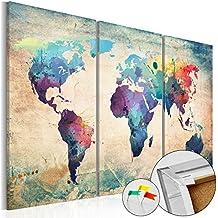 murando Cuadro - Tablero de corcho 90x60 cm - 3 Partes - Cuadro sobre corcho Mapamundi Mundo Continente k-A-0049-p-a 90x60 cm