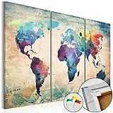 Neuheit! Weltkarte mit Kork Rückwand 90x60 cm – dreiteilig Bilder Leinwandbild Poster Pinnwand Kunstdruck Weltkarte Kontinent Welt Landkarte Karte k-A-0049-p-a 90x60 cm B&D XXL