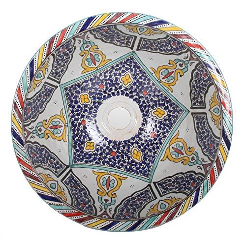 Mediterrane Keramik-Waschbecken Fes102 rund Ø 40 cm bunt H 18 cm Handmade Waschschale | Marokkanische Handwaschbecken Aufsatzwaschbecken für Badezimmer Küche Gäste-Bad | Einfach schöner Wohnen