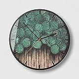 YANXUEPING Kreative Zitronengelb Einfache, Moderne Postmoderne Farbe Springen, runde Mute Clock, 14 Zoll, schwarz Grenze T
