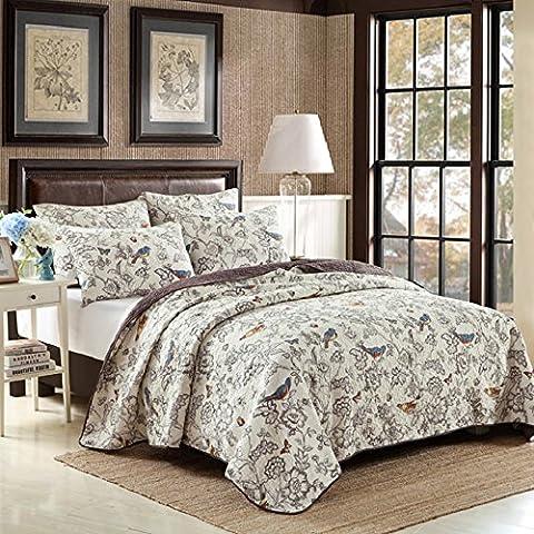 Beddingleer King Size 3pcs 100% Cotton Quilted Bedspread Printed Comforter Set