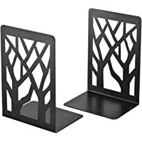 AmericanElm Metal Bookends for Shelves - Heavy Base Book End Holders for Office- 2 Pcs Per Pack (Black)