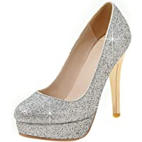 LOVOUO Decolte con Paillettes Scarpe Donna Tacco Spillo Metallo Pumps High Heels Platform Eleganti