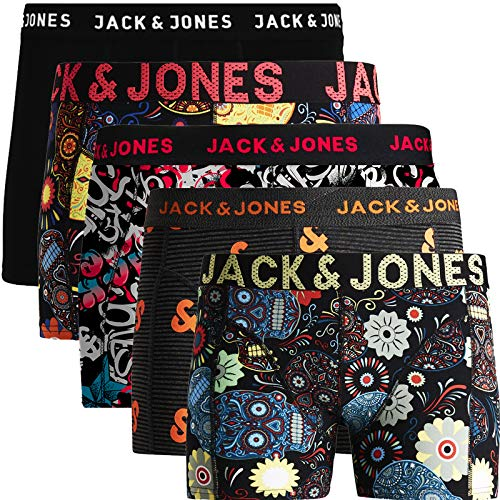 JACK & JONES Herren 5er Pack Boxershorts Mix Unterwäsche Mehrpack,5er Pack Bunt 2 Ohne Wäschesack,XXL