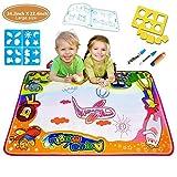 Große Aqua-magische Gekritzel-Auflage 6 Farbwasser-Zeichnungs-Matten-Kinder, die Brett 34.2 x 22.4 mit 3 Wasser-Bleistiften und mehrfachen verschiedenen Zeichnungs-Formen und Zeichnungsbroschüre malen