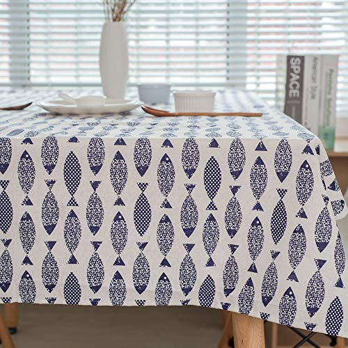 QWEASDZX Tischdecke Schlichte Persönlichkeit Baumwolle und Leinen Ölbeständige und wasserdichte Anti-Fleck-Tischdecke Geeignet für Innen und Außen Rechteckige Tischdecke 140x220cm