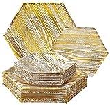 Legno Collection Heavyweight piatti di carta bianco texture- set di stoviglie usa e getta Hexagon design piatto–perfetto per cene, feste, eventi e formale (36pezzi), Carta, White With Gold, Dinner and Side