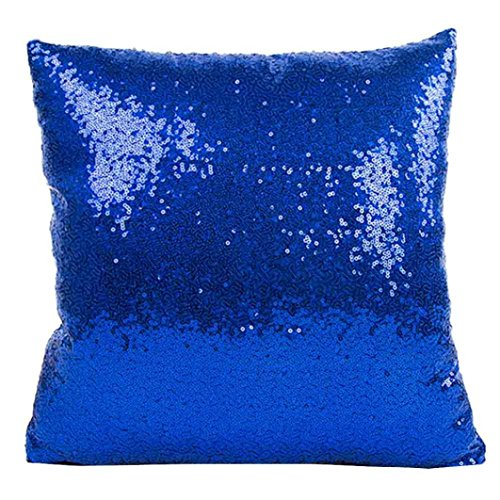 Indexp Glitter Sequins Solid Color Pillowcase Home Decor Sofa Cushion Cover (Blue)