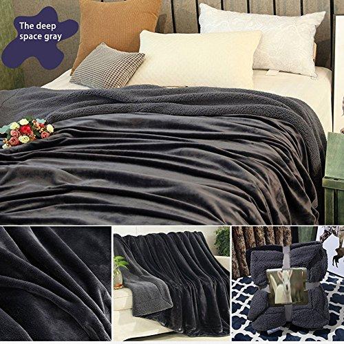 Normallack flanell sherpa werfen decke weich flauschig kuschelig plüsch flaumig warm modern leicht große thermische decke wärmer für couch bett sofa lounge büro - dunkelgrau -