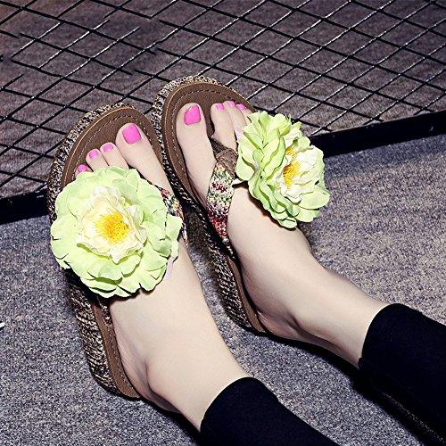 4.5cm Chaussons épluchés d'été Pantoufles de plage à perles faites à la main Simples pantoufles antidérapantes avec 12 sortes de couleurs ( Couleur : #10 , taille : EU36/UK3.5/CN35 ) #3