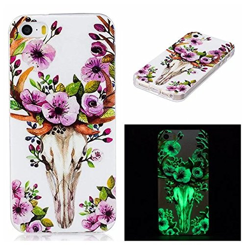 Etsue [Leuchtende Nacht] TPU Schutzhülle für iPhone 6S/iPhone 6 (4.7 Zoll) Silikon Handyhülle, Malerei Tier Blume Muster Einzigartig Night Luminous TPU Silikon Handytasche Weiche Schlank Ultradünnen K Night Luminous,lila Blume,Hirsch