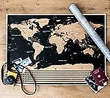 Große Weltkarte zum Rubbeln - Rubbelweltkarte - Landkarte zum Freirubbeln - Premium Qualität - bereiste Länder freirubbeln und sich auf neue Orte freuen - tolles Geschenk für Weltenbummler (83cm x 60cm)