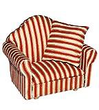 Unbekannt Miniatur Sessel mit Kissen - für Puppenstube Maßstab 1:12 - rot weiß golden - gestreift - Puppenhaus Puppenhausmöbel Sofasessel Wohnzimmer Klein - für Wohnzim..