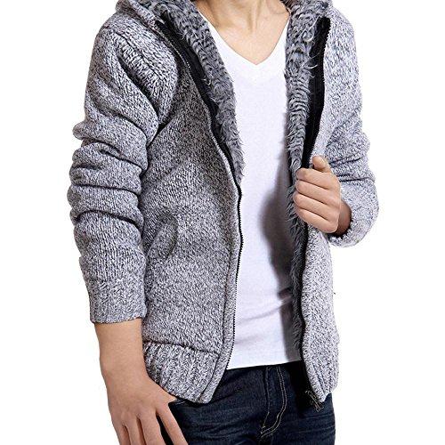 Ninasill Herren Herbst und Winter Fell Hood Casual Hoodies Pullover Mäntel Bluse Casual Medium Grau -