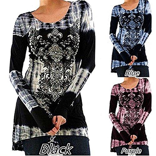 Mxssi Blusas Tallas Grandes Camisetas Góticas Vestidos Vintage Impreso Jersey Largo Cuello Redondo Blusas Manga Larga Blusas Largas Vestidos A-Línea Camisetas Trabajo