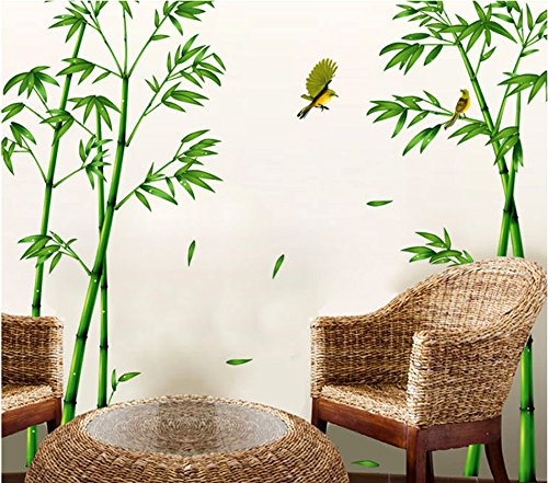 Pegatina XL bambu y colibris original terrazas