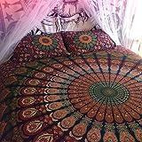 Mandala indien Tapisserie de pique-nique hippie bohème Décoration murale Lit en Coton, double, couverture, couverture, Gypsy ou Résidence Décoration de salle, Boho Plage