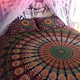 Traditional Jaipur Tapicería de mandala, colgante de pared de elefante grande, colcha de colcha de algodón indio, decoraciones de sala de dormitorio Hippie, tiro de picnic Boho, manta de playa gitana