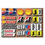 Motorrad-Aufkleber-Set, Rennsport-Motive (18Aufkleber) Elf Shell Repsol Bridgestone Castrol Agip, Motorrad-Aufkleber von Onekool
