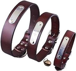 Jinbom Collare personalizzato per cane - Collari in pelle personalizzati con nome dell'animale domestico e numero di telefono e campana - 6 misure regolabili: XXS, XS, S, M, L e XL