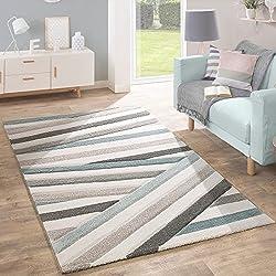 Paco Home Alfombra De Diseño Moderna Contorneada En Colores Pastel A Rayas Y Zigzag En Azul y Crema, tamaño:160x230 cm
