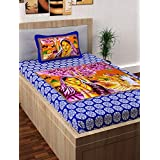 Story@Home Fantasy 120 TC Cotton Single Bedsheet With Pillow Cover - Blue