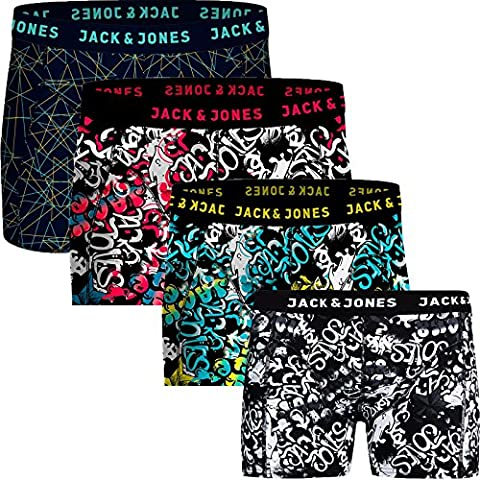 Jack & Jones Herren Boxershorts 4er Pack Trunks Shorts Baumwoll Mix Unterhose Core S M L XL XXL (M,