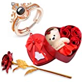University Trendz I Love You 100 Language Rose Gold Crown Ring with Artificial Red Rose & Soft Teddy Bear with Flower Box for