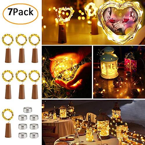 7 Stück LED Flaschen Licht, BrizLabs 20 LEDs 2M Flaschenlicht Warmweiß Weinflasche Lichterkette Kupferdraht Stimmungslichter Batteriebetriebene für Flasche DIY Hochzeit Party Weihnachten Innen Deko