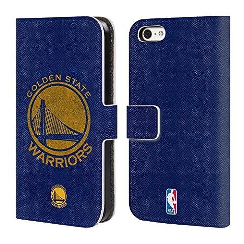 Officiel Nba Affligé Golden State Warriors Étui Coque De Livre En Cuir Pour Apple iPhone 5c