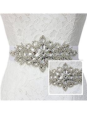TRLYC - Cinta transparente con piedras brillantes, para boda Plateado