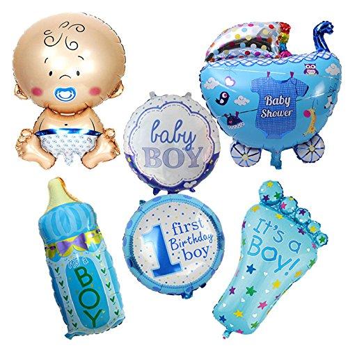 6 Unids globos XL baby shower azul ideales para la fiesta de nuevo bebes decoracion de bautizos cumpleaños , en cada mesa de invitado, en la de niños, en carrito de chuches o en los asientos.... mil ideas decoración jardin escaparates de CHIPYHOME