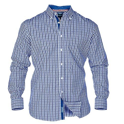 Grand King Size Carreaux Chemise Pour Hommes Duke Super Vichy Manche Longue Boutonné Top Carreaux bleu