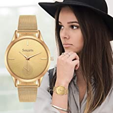 Souarts Damen Armbanduhr Einfach Mesh Metallarmband Casual Analoge Quarz Uhr