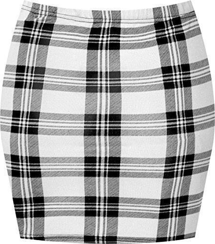 WearAll - Damen Bedruckt Dehnbar Jersey Figurbetontes Kurz Mini-Rock - Weiß Tartan - 36-38
