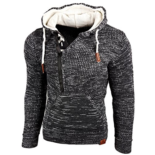Rusty Neal Top Herren Winter Kapuzenpullover Pulli Sweatshirt Jacke RN-13277, Größe:XL, Farbe:Anthrazit/Ecru