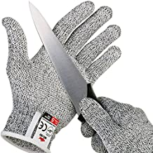 Nocry Cut guanti resistenti con secure-grip Microdots e Level 5 Cut Protection. Comfort-Fit. food grade. Include Ecookbook., Grey, large