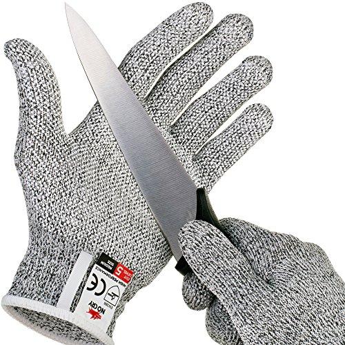 Größe Klein Leder-arbeits-handschuhe (NoCry schnittsichere Handschuhe mit Griffnoppen – Leistungsfähiger Level 5 Schutz, lebensmittelecht. Größe: XL, 1 Paar)